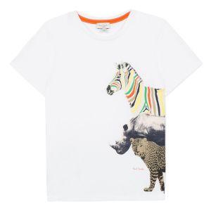 Paul Smith Junior Boys White 'Acomo' Cotton T-Shirt