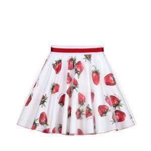 Monnalisa White Tulle Strawberry Skirt
