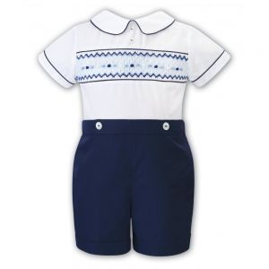 Sarah Louise Boy's White & Shades of Blue Buster Suit