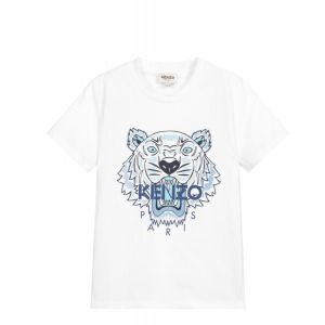 KENZO KIDS Older Boys White and Dark Blue Tiger Logo T-Shirt
