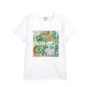 KENZO KIDS Girls White Tiger Logo Box Print T-Shirt