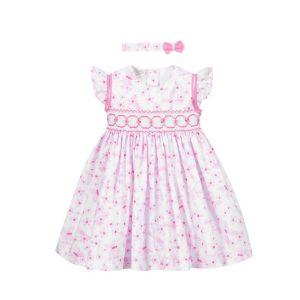 Pretty Originals Floral Pink Smocked Dress Set