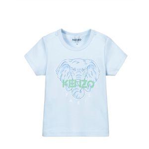 KENZO KIDS Baby Boys Pale Blue Cotton Elephant T-Shirt