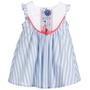 Girls Billie Blush Blue-White Stripe Dress