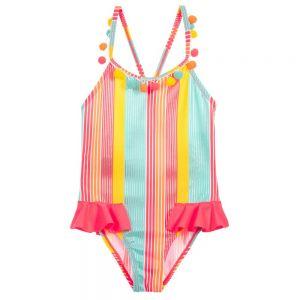 Billieblush Girls Pink Striped Swimsuit