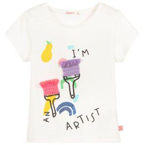 Billieblush Girls White Cotton Paint Brush T-Shirt