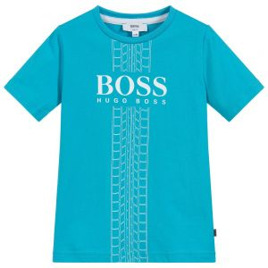 BOSS Older Boys Turquoise Blue Cotton Logo T-Shirt