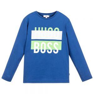 BOSS Boy's Royal Blue Long Sleeved Cotton Logo Top