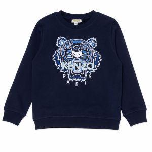 KENZO KIDS Navy Iconic Tiger Grey Logo  Sweatshirt