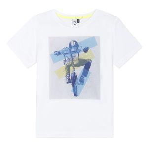 3Pommes Boys White Cotton BMX Biker T-Shirt