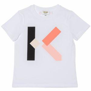 KENZO KIDS Girls White Organic Cotton Logo K T-Shirt