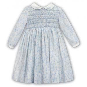 Sarah Louise White and Blue Floral Hand-Smocked Cotton Dress