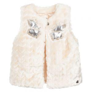 CARRÉMENT BEAU Girls Ivory Faux Fur Gilet