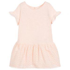 Carrément Beau Girls Pink Cotton Dress