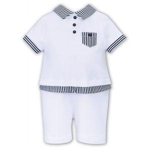 Sarah Louise Boys 'Dani' White and Navy Blue Polo Shortie