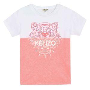 Kenzo Kids Girls Pink and White Iconic Tiger T-Shirt