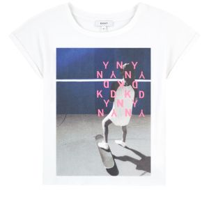 DKNY Girls White Cotton Blue and Pink Printed Logo T-Shirt