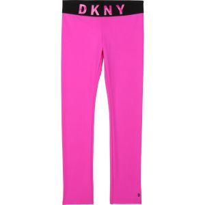 DKNY Pink & Black Bold Logo Leggings