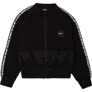DKNY Black Logo Jersey & Satin Zip-Up Top