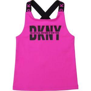 DKNY Pink & Black Logo Vest Top