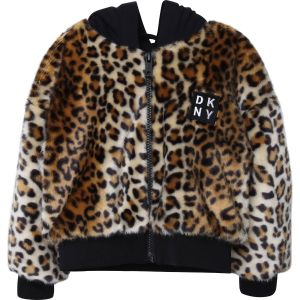 DKNY Leopard Print Fur Jacket