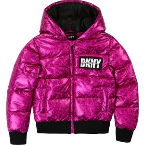 DKNY Pink & Black Shiny Puffer Jacket