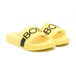 BOSS Kidswear Boys Yellow Logo Sliders