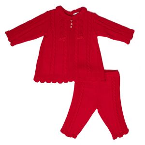 Sarah Louise Girls Red Knitted Set