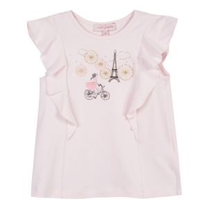 Lili Gaufrette Girls Pink Cotton Paris T-Shirt