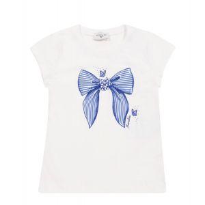 Monnalisa White & Blue Bow Cotton Short Sleeved T-Shirt