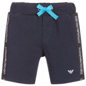 Emporio Armani Boys Blue  Logo Tape Cotton Jersey Shorts
