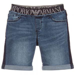 Emporio Armani Boys Blue Wash Denim Shorts