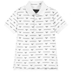 Emporio Armani Boys White Cotton All Over Logo Polo Shirt