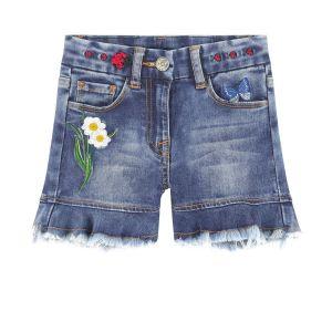 Monnalisa Blue Denim Embroidered Jean Shorts