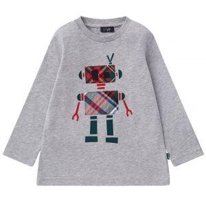 Il Gufo Grey Cotton Robot Applique T-Shirt