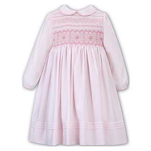 Sarah Louise Girls Pink Traditional Long Sleeved Hand-Smocked Dress