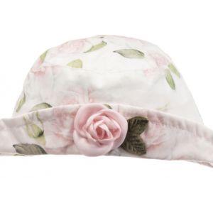 Monnalisa White & Pink Floral Hat