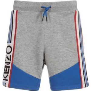 Kenzo Kids Grey & Cobalt Blue Cotton Logo Shorts