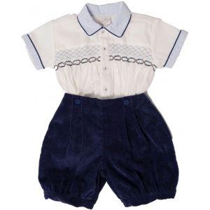 Pretty Originals Blue Hand-Smocked Cord Shorts Set
