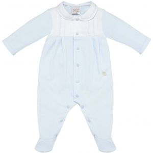 Paz Rodriguez Pale Blue and White Cotton Jersey Pleated Babygrow