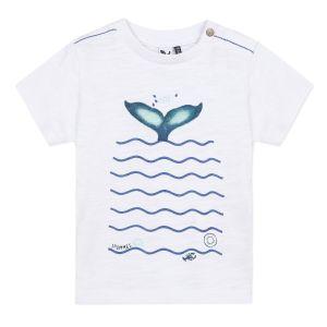 3Pommes White Cotton Whale Tail  T-Shirt