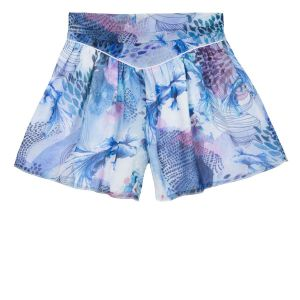3Pommes Blue and Pink Ocean Chiffon Shorts