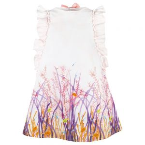 Il Gufo Girls Sea Print Cotton Pink Dress