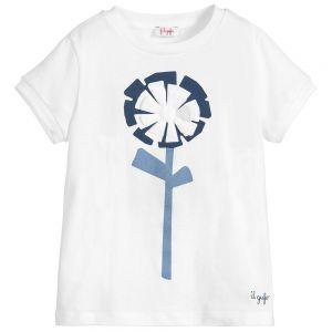 IL Gufo Girl's White Cotton Flower T-Shirt