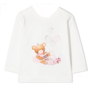 Monnalisa Girls Ivory Long Sleeved Cotton Teddy T-Shirt