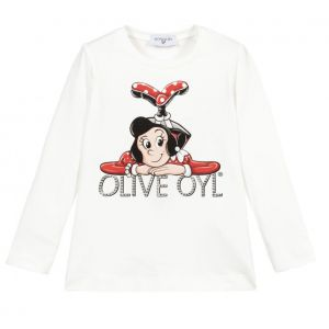 Monnalisa Ivory Cotton Olive Oyl Top