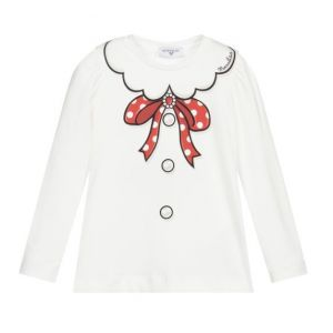 Monnalisa Ivory Cotton Red Bow Top