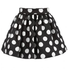 Monnalisa Black & White Spot Skirt