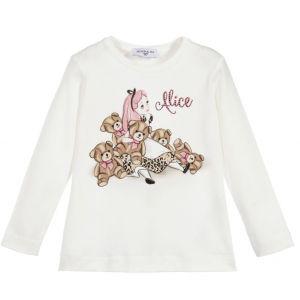 Monnalisa Girls Ivory Cotton Disney Alice and Teddy Top