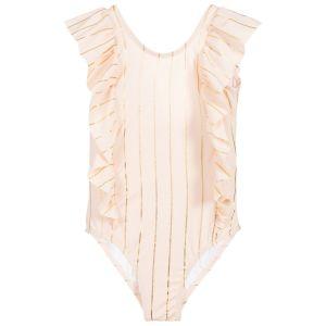 Carrément Beau Girls Pink & Gold Swimsuit